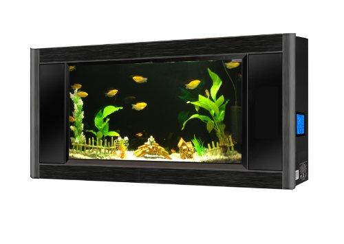 Aquavista Panoramic Wall Aquarium, Black, 5-Feet Wide