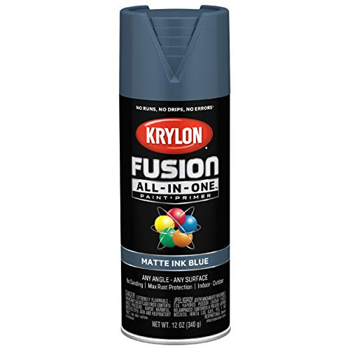 Krylon K02758007 Fusion All-In-One Spray Paint for Indoor/Outdoor Use, Matte Ink Blue