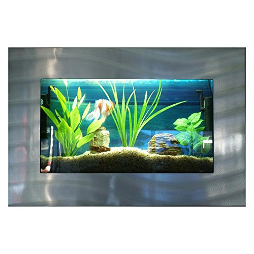Bayshore Aquarium B1SSLVR Medium Rectangular Wall Aquarium, Silver