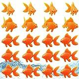 Oruuum 20 Pieces Artificial Aquarium Fishes, Fish Bowl Tank Floating Plastic Fish Decor, Orange Goldfish Realistic Fake Moving Fish Ornament Decorations for Aquarium Fish Tank, 2.2 Inch