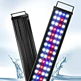 AQQA Aquarium Lights,Fish Tank LED Light with Extendable Brackets,Waterproof Full Spectrum Blue Red White LEDs with External Timer Controller for Freshwater Planted 45W (47'-51')