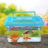 DSstyles Portable Pet Breeding Box Transparent Tortoise Cylinder Goldfish Bowl Random Color Square 15 9 11CM