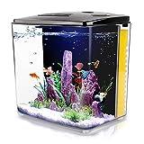 1.4 Gallon Aquarium Starter Kits , Aquariums Square Betta Fish Tank with LED Light and Filter Pump