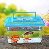 DishyKooker Home Portable Pet Breeding Box Transparent Tortoise Cylinder Goldfish Bowl Random Color Square 15 9 11CM Convenient Items