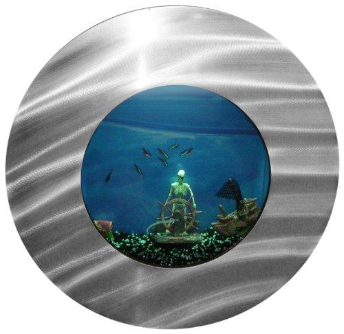 Bayshore Aquarium BW4SLVR Small Round Porthole Wall Aquarium,Silver