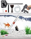 QZQ Aquarium Gravel Vacuum Cleaner Fish Tank Cleaner Tools Newly Upgraded Gravel Vacuum for Aquarium Water Changer with Aquarium Thermometers Fish Net kit Use for Fish Tank Cleaning Gravel and Sand
