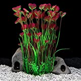 QUMY Large Aquarium Plants Artificial Plastic Fish Tank Plants Decoration Ornament for All Fish (B-Red)