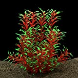 QUMY Large Aquarium Plants Artificial Plastic Fish Tank Plants Decoration Ornament for All Fish 12.6 inch Tall 7.09 inch Wide (Wine Red)