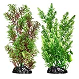Artificial Fish Tank Plants, Plastic Aquarium Plant, 2 Pack, Non-Toxic&Soft, Safe for Fish (G)